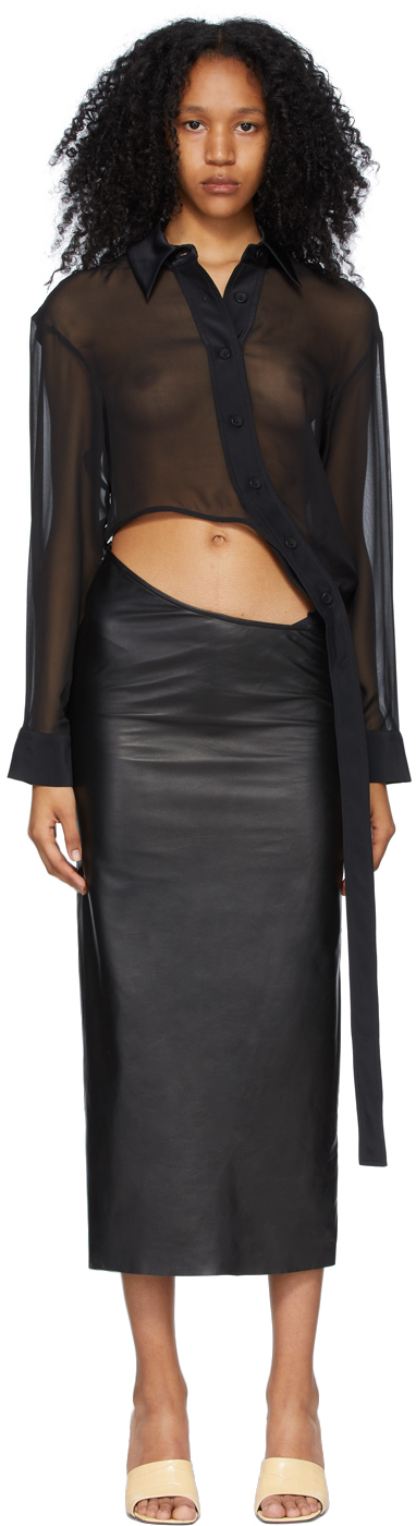 Black Connected Shirt-To-Skirt Dress