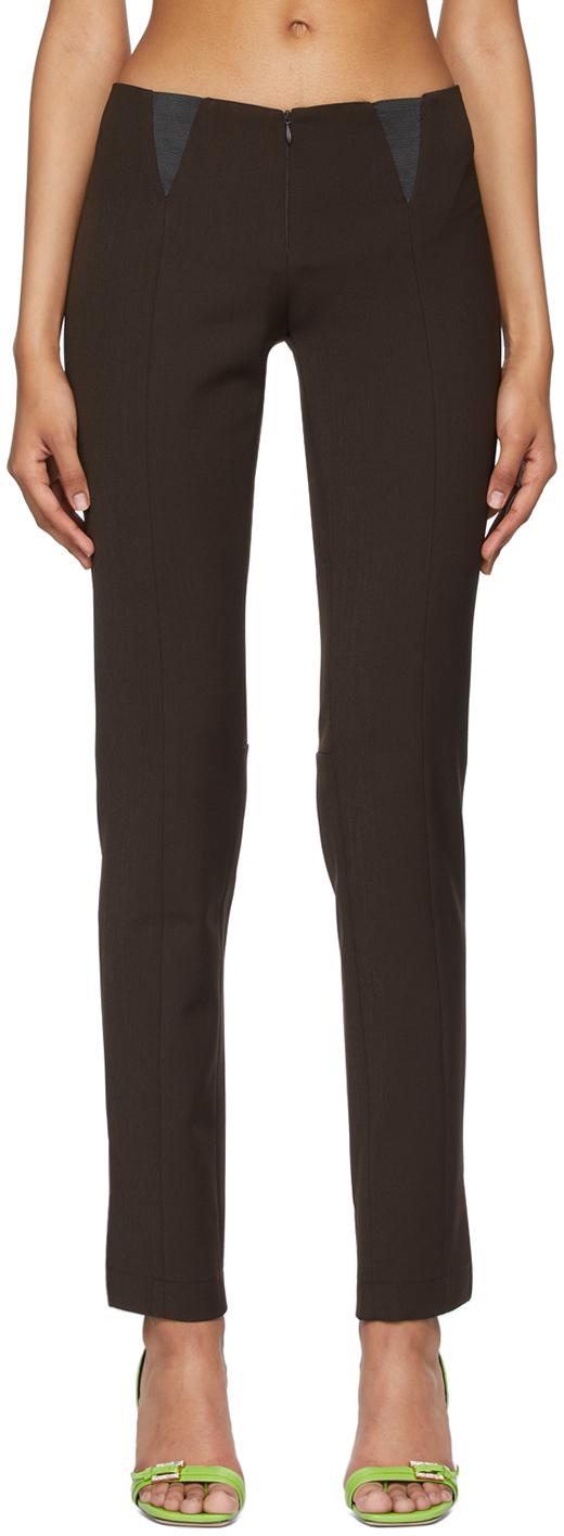 Brown Paneled Slim Trousers
