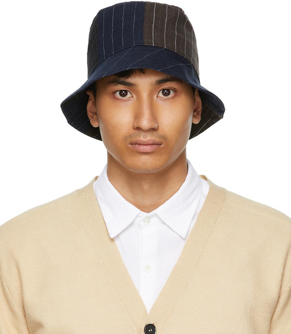 Navy & Black Linen Gianto Bucket Hat