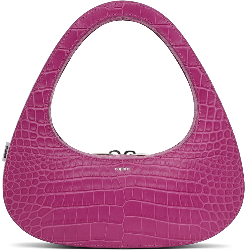 Purple Croc Baguette Swipe Bag