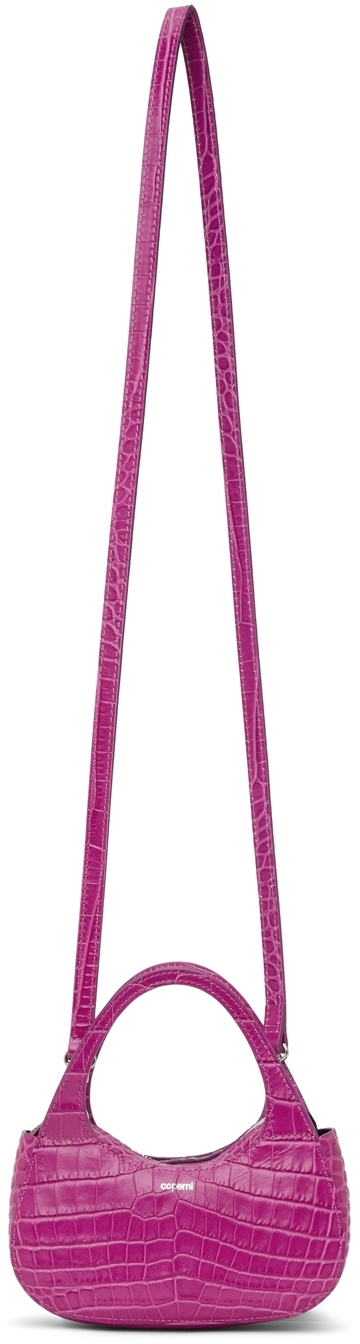 Purple Croc Micro Baguette Swipe Bag
