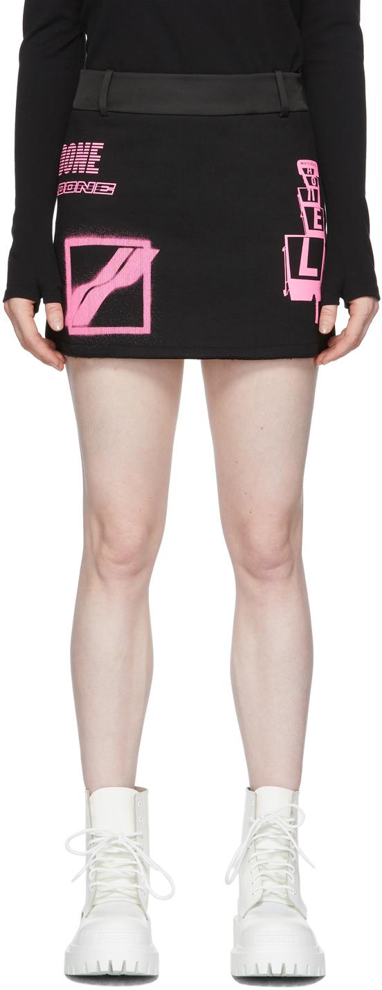 We11done 黑色徽标短裙