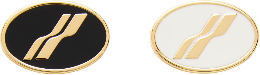 We11done Gold Oval Logo Brooch Set