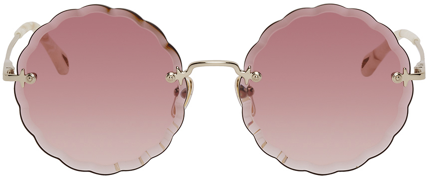 Chlo� Gold Rosie Round Sunglasses