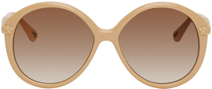 Chlo� Beige Braided Billie Round Sunglasses