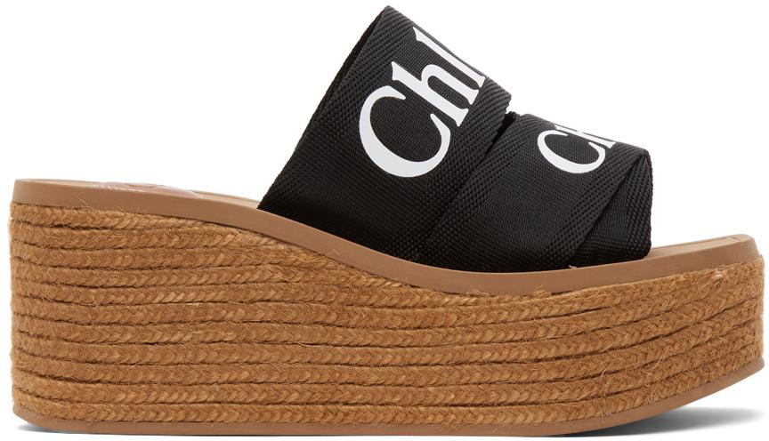 Black Woody Wedge Heeled Sandals