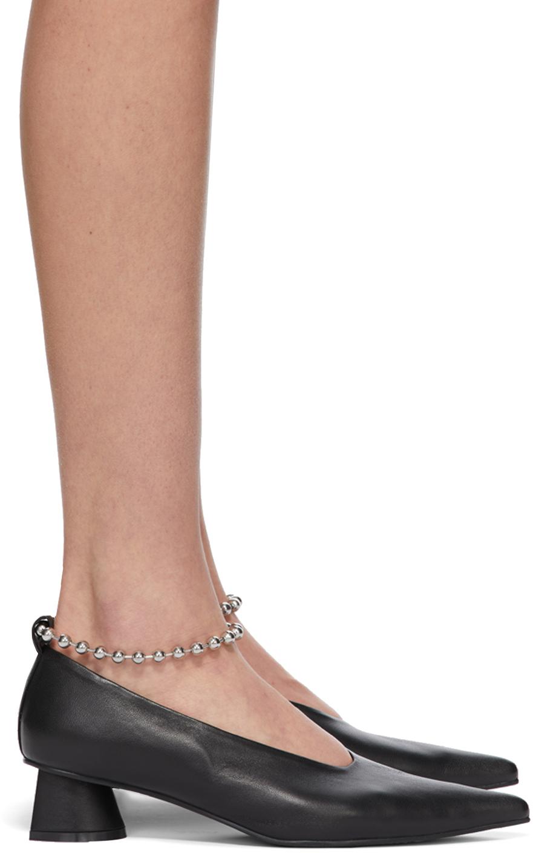 Black Chain Anklet Extreme Sharp Toe Heels