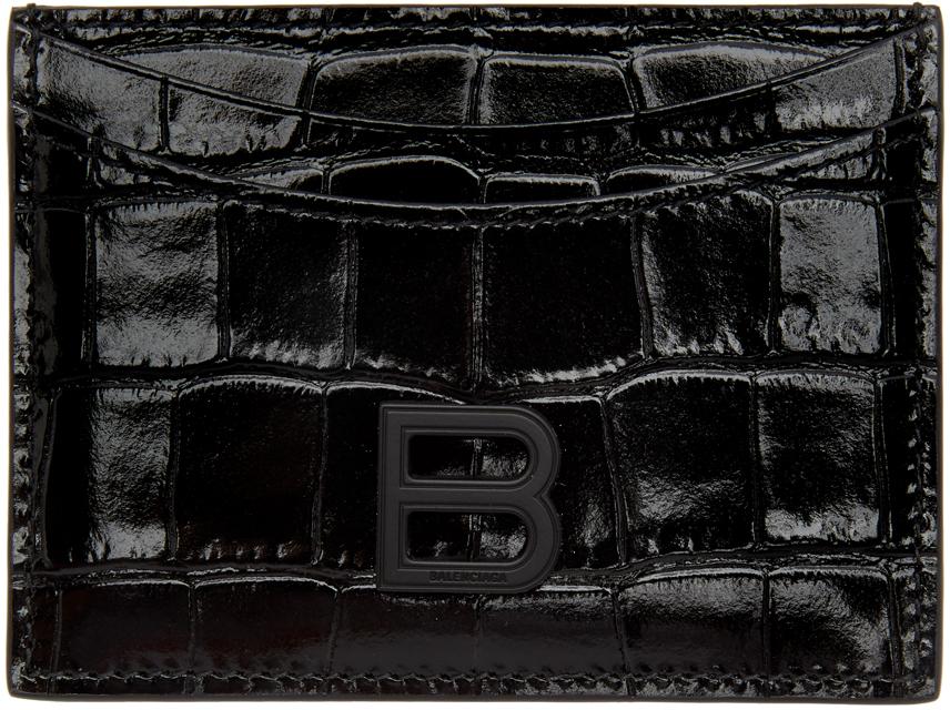 Black Croc Hourglass Card Holder