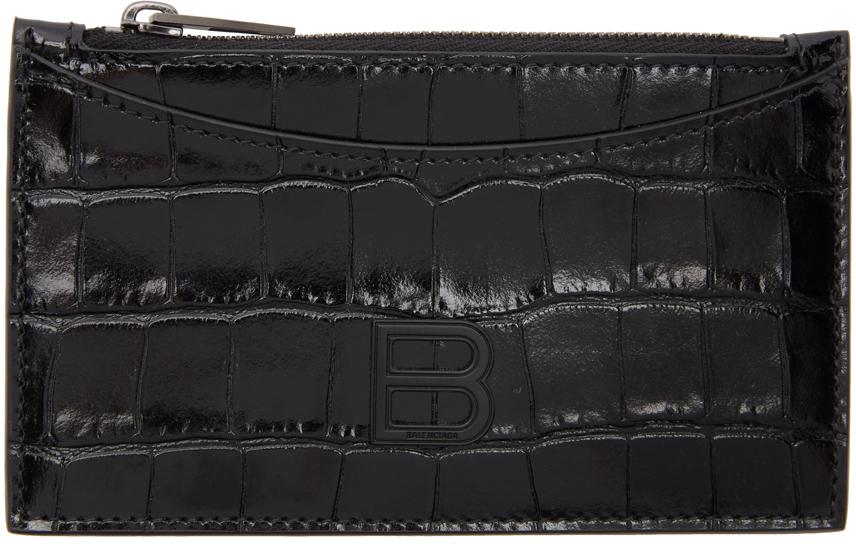 Black Croc Hourglass Zip Card Holder