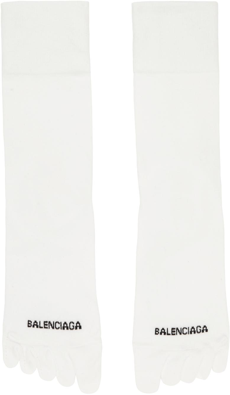 White Logo Toe Socks