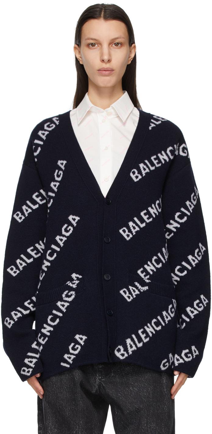 Balenciaga 海军蓝 Allover Logo 开衫