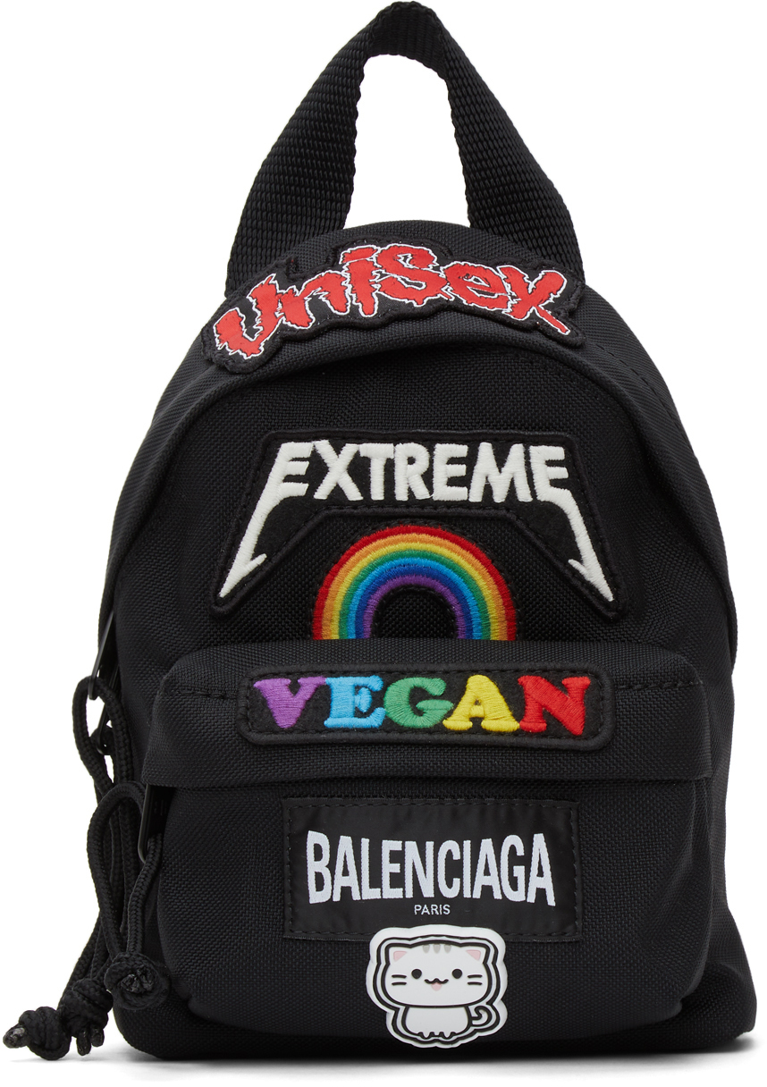 Balenciaga Black Mini Gamer Patch Backpack Bag