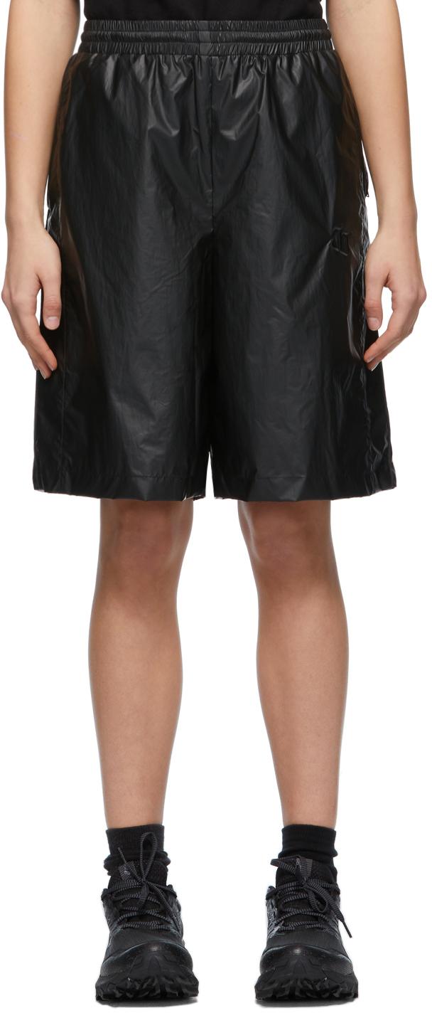 Black Embroidered Logo Track Shorts