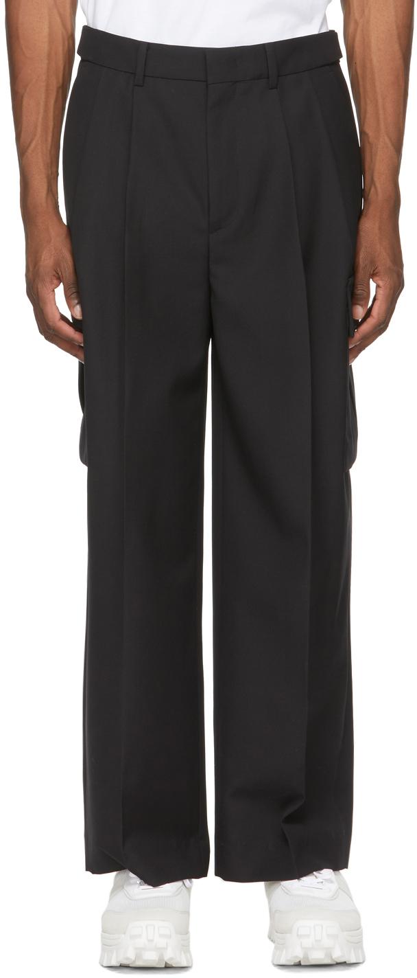 Black Wool Wide-Fit Cargo Pants