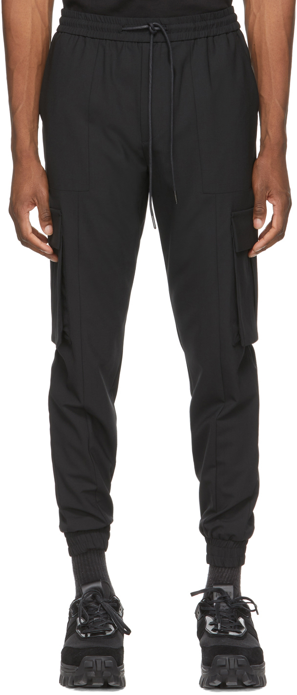 Black Stretch Jogger Cargo Pants