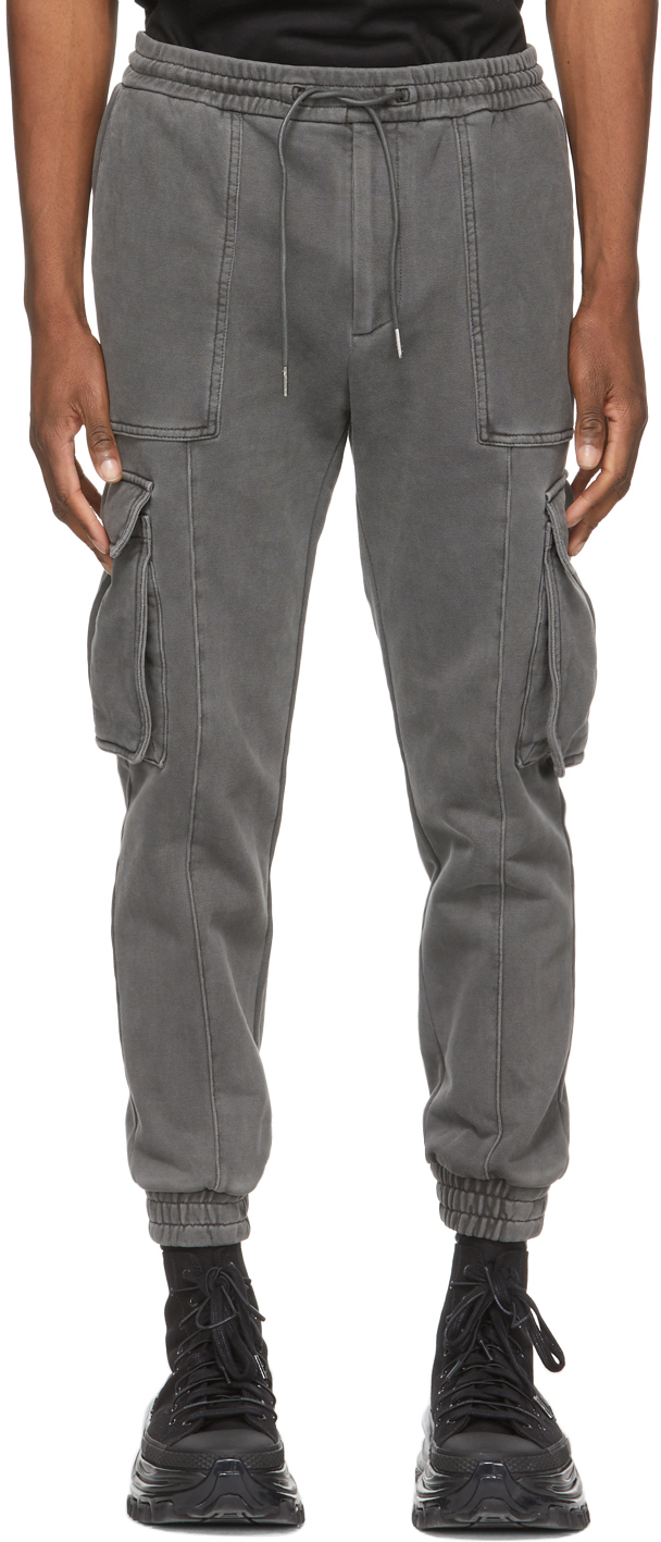 Grey Garment-Dyed Jogger Cargo Pants