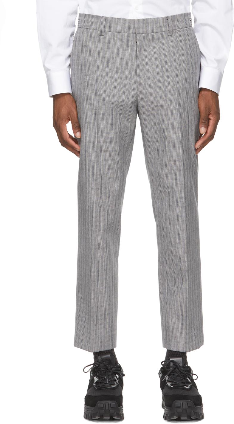 Grey Wool Check Glen Trousers