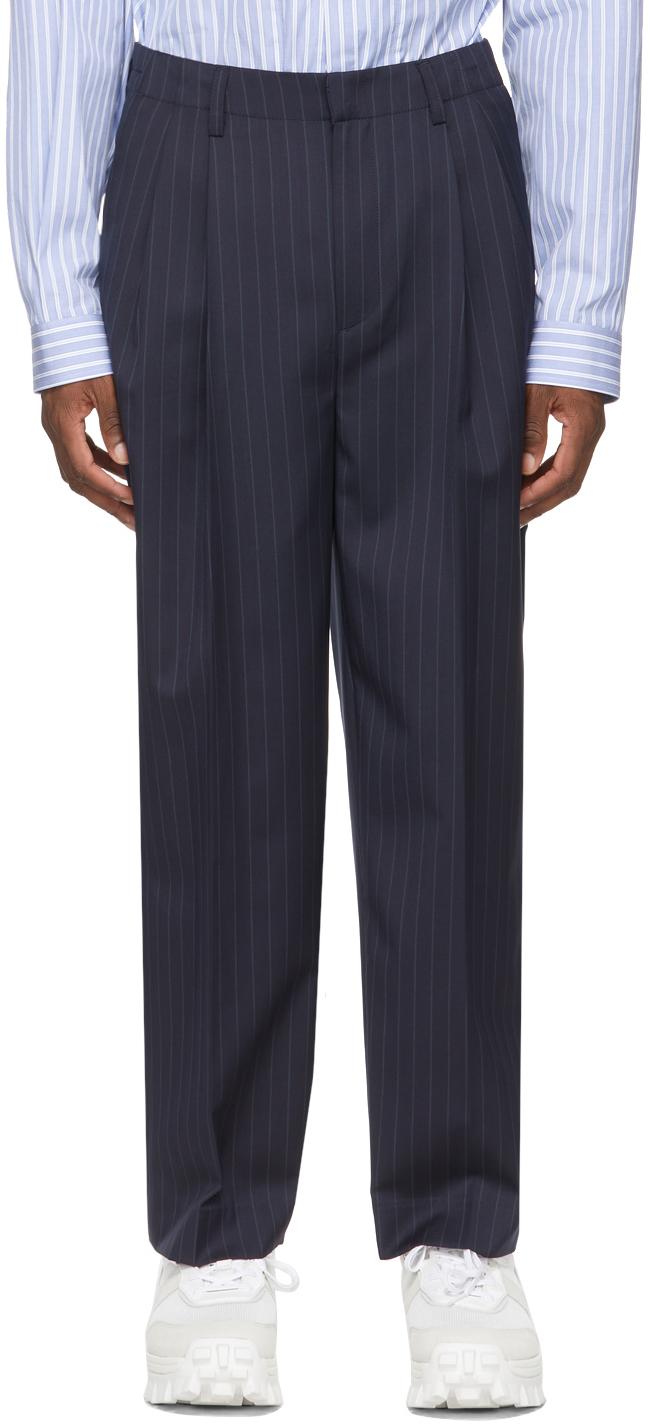Navy & White Wool Stripe Wide-Fit Trousers