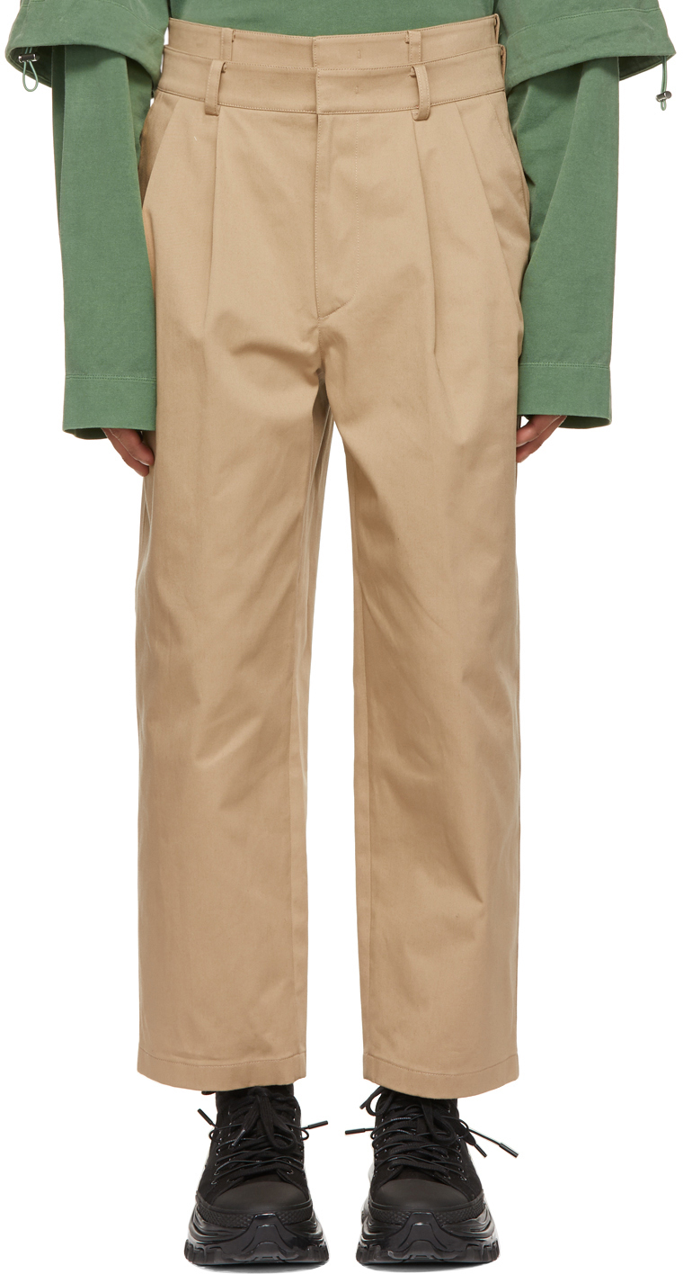 Beige Two-Pleat Double Waistband Trousers