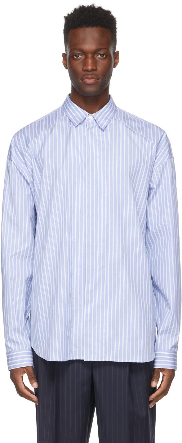 Blue & White Stripe Poplin Shirt