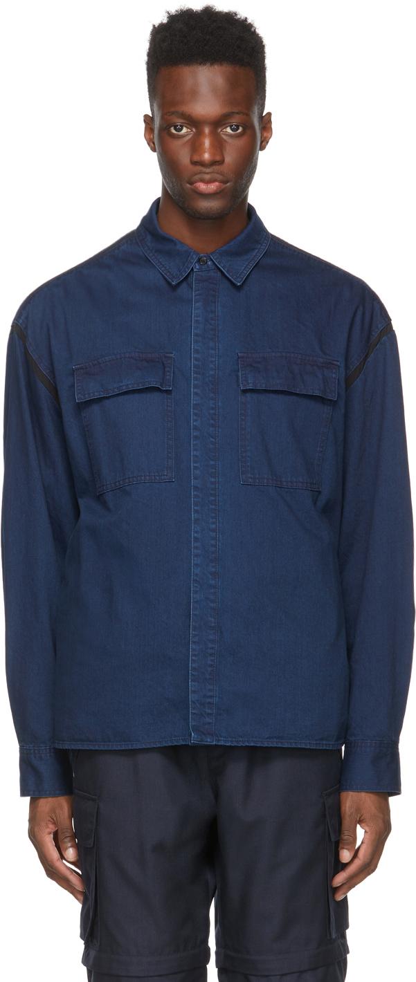 Blue Denim Two Pockets Contrast Shirt