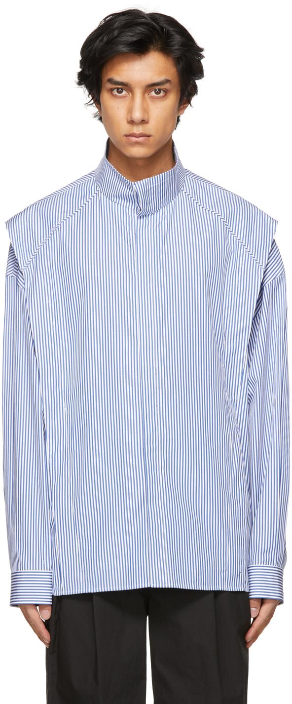 Blue & White Striped Stand Collar Layered Shirt