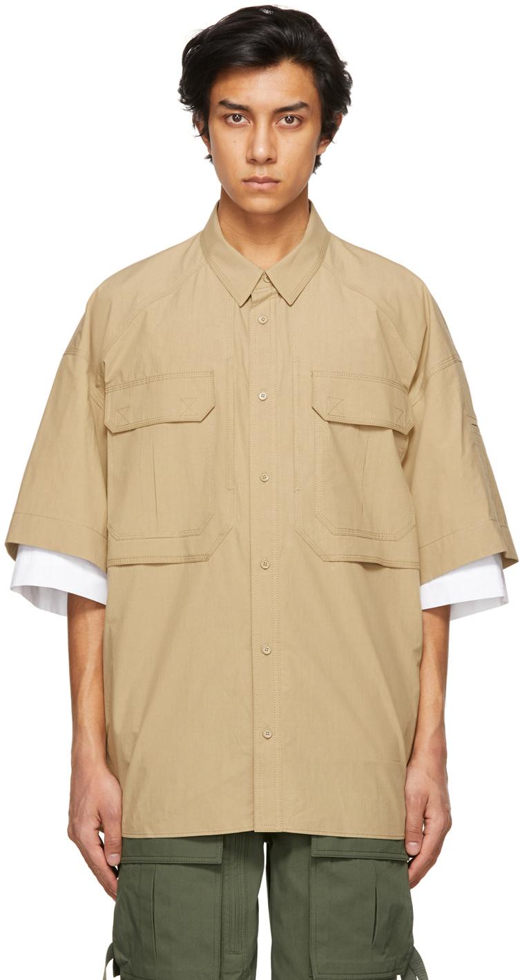 Beige Layered Pocket Short Sleeve Shirt