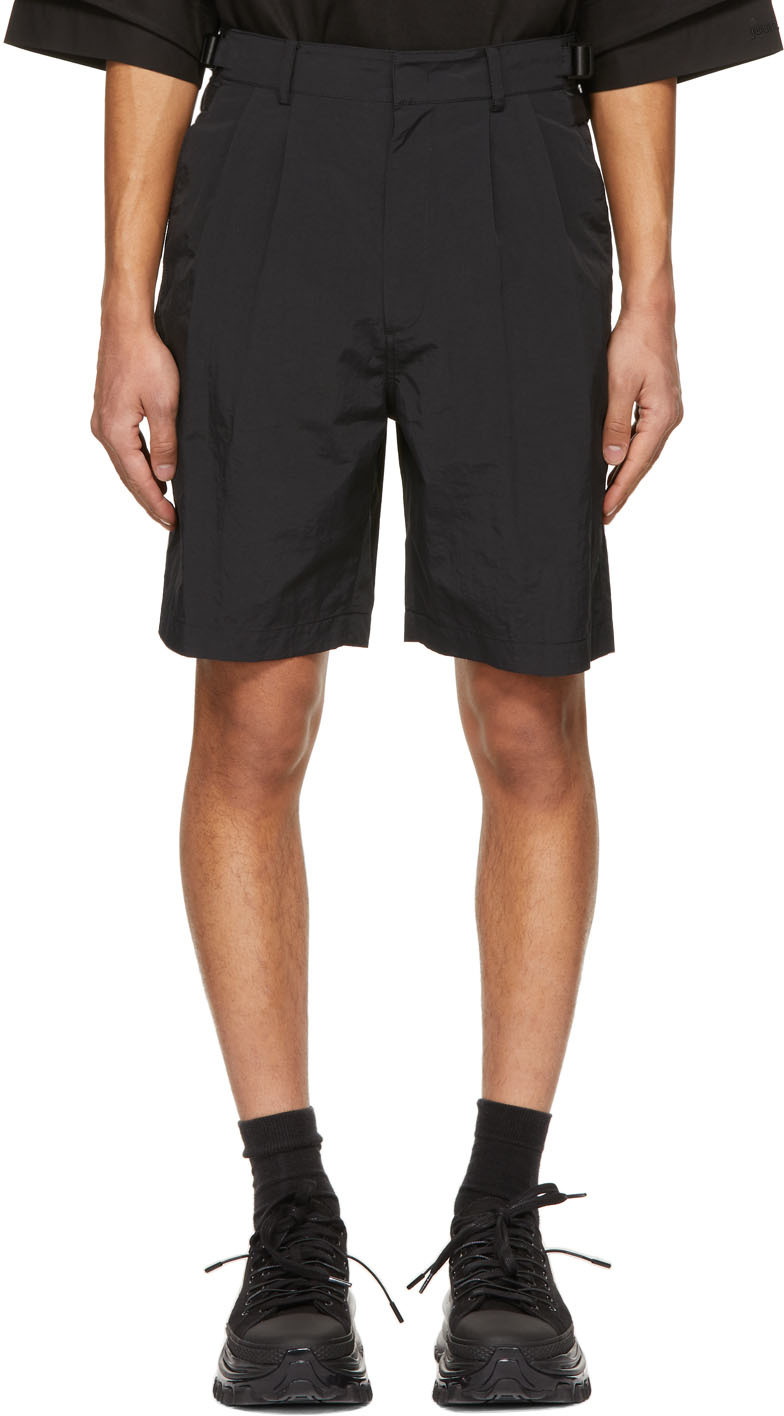 Black Two-Pleat Belted Shorts