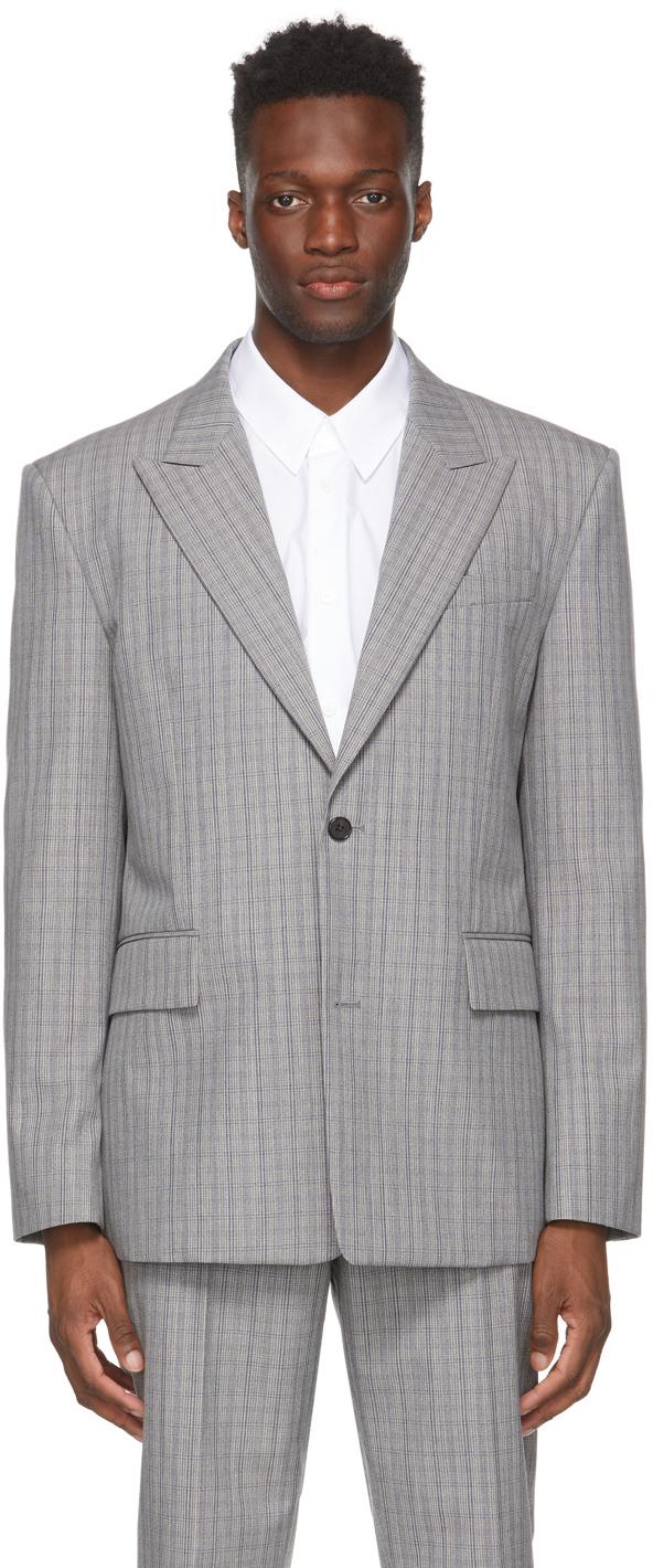 Grey Wool Check Glen Blazer