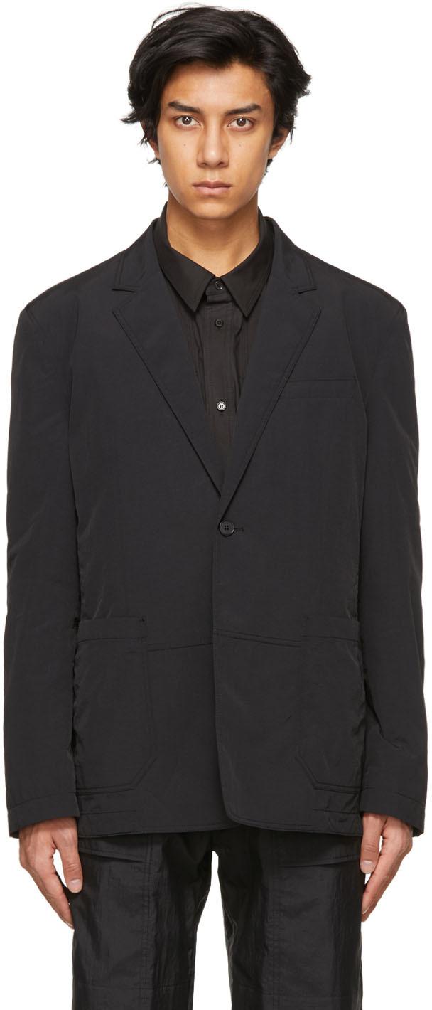 Black Taffeta Two-Button Blazer