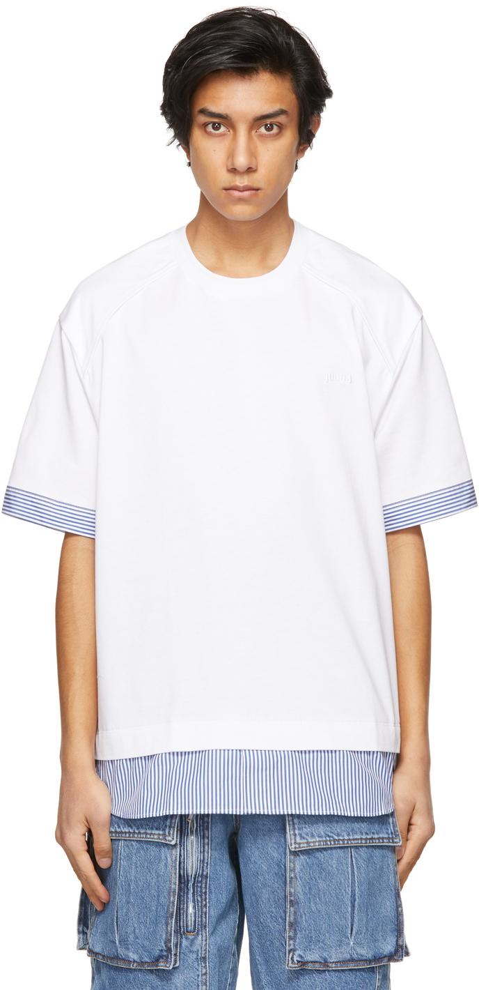 White & Blue Striped Layered T-Shirt
