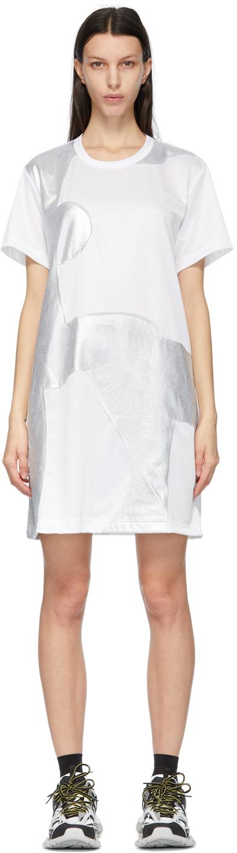 White & Silver Patchwork T-Shirt Dress