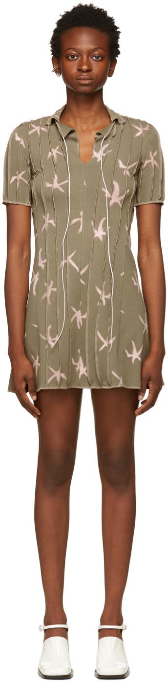 SSENSE Exclusive Beige 3D Stripe Polo Short Dress