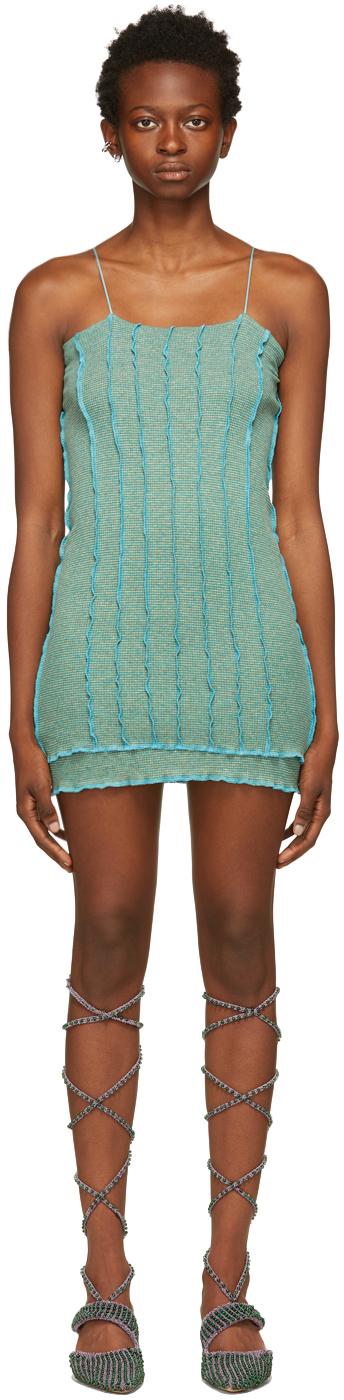 SSENSE Exclusive Green & Blue Skimpy Short Dress