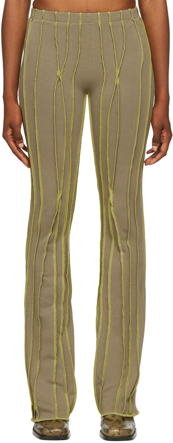 SSENSE Exclusive Beige & Green Twist 3D Stripe Lounge Pants