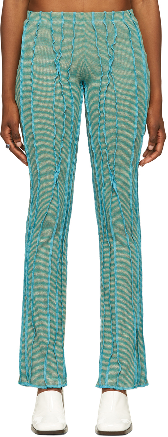 SSENSE Exclusive Green & Blue Twist 3D Stripe Lounge Pants