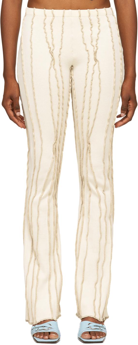 SSENSE Exclusive White & Beige Twist 3D Stripe Lounge Pants