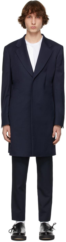 Navy Wool Gabardine Coat
