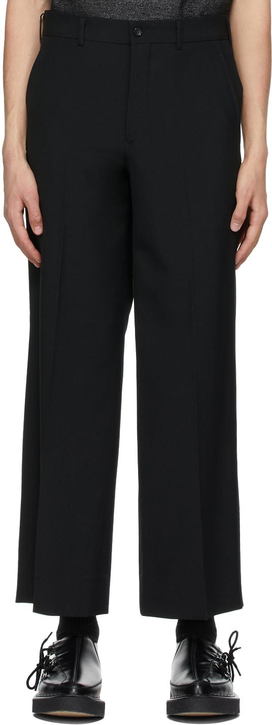 Black Wool Wide-Leg Trousers
