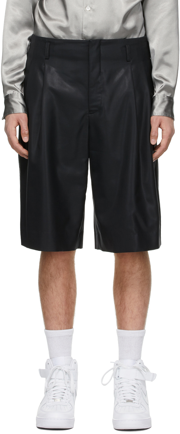 Black Chintz Wool Shorts