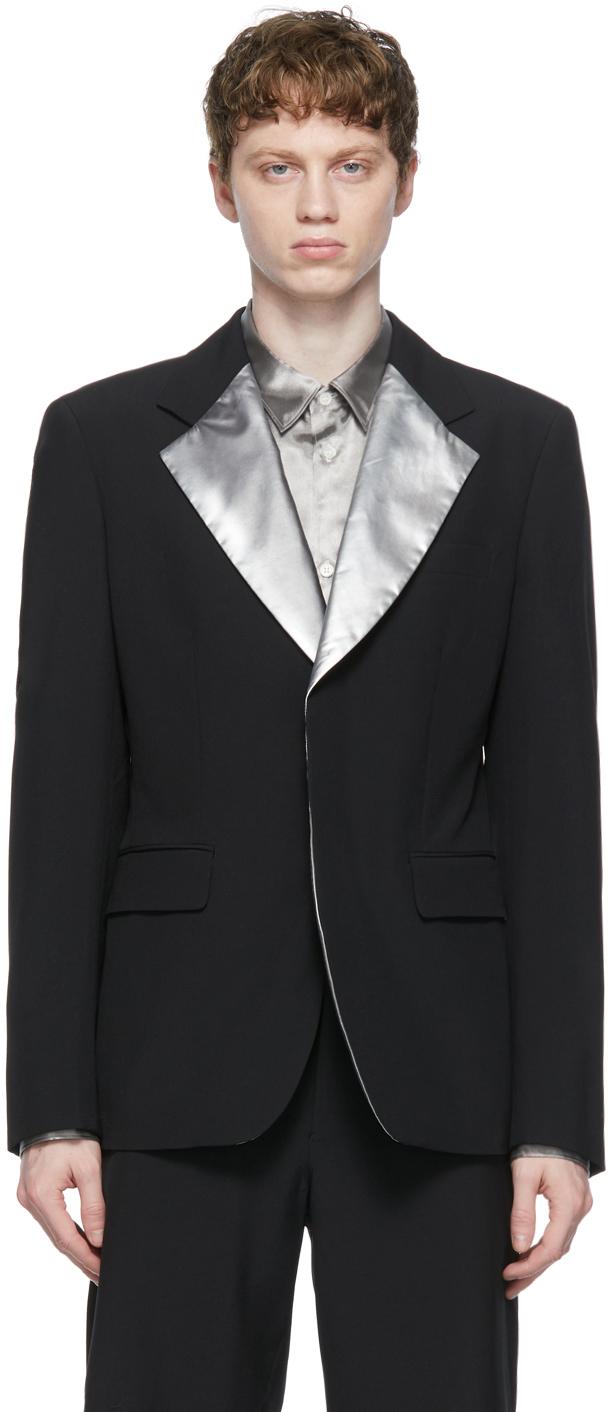 Black Tropical Wool x Taffeta Blazer