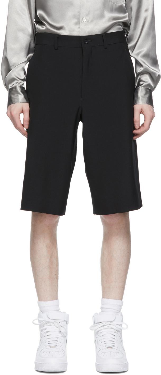 Black Tropical Wool Shorts