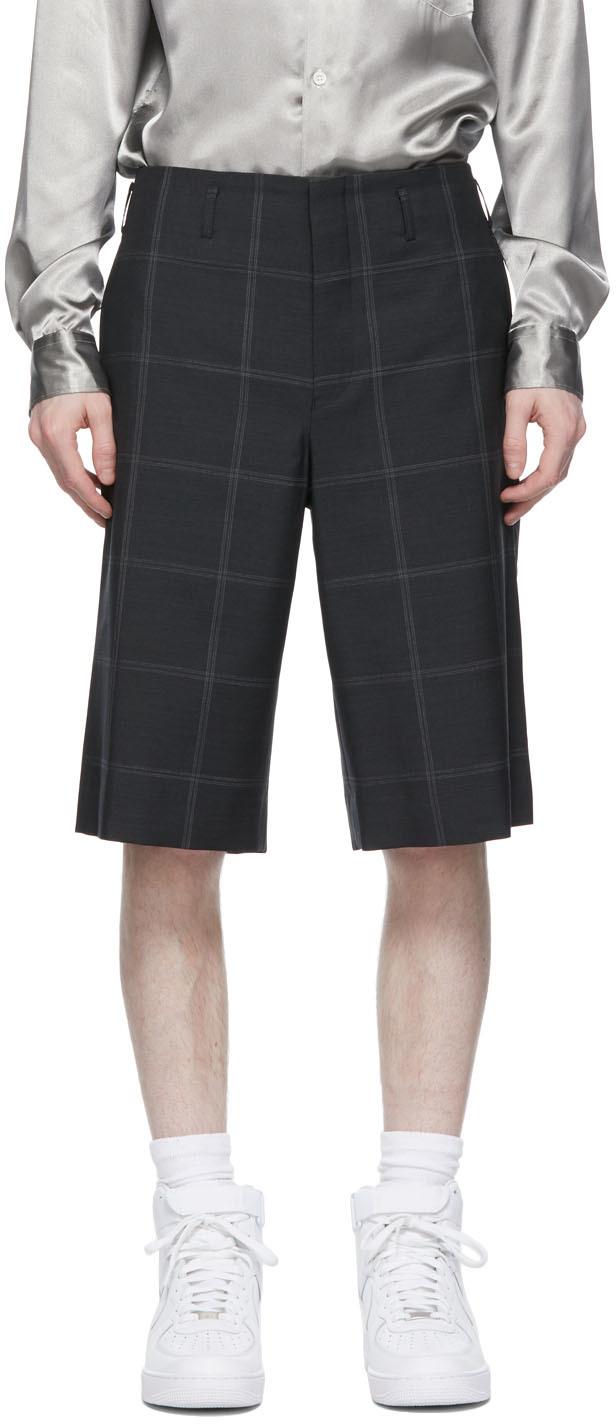 Grey Windowpane Shorts
