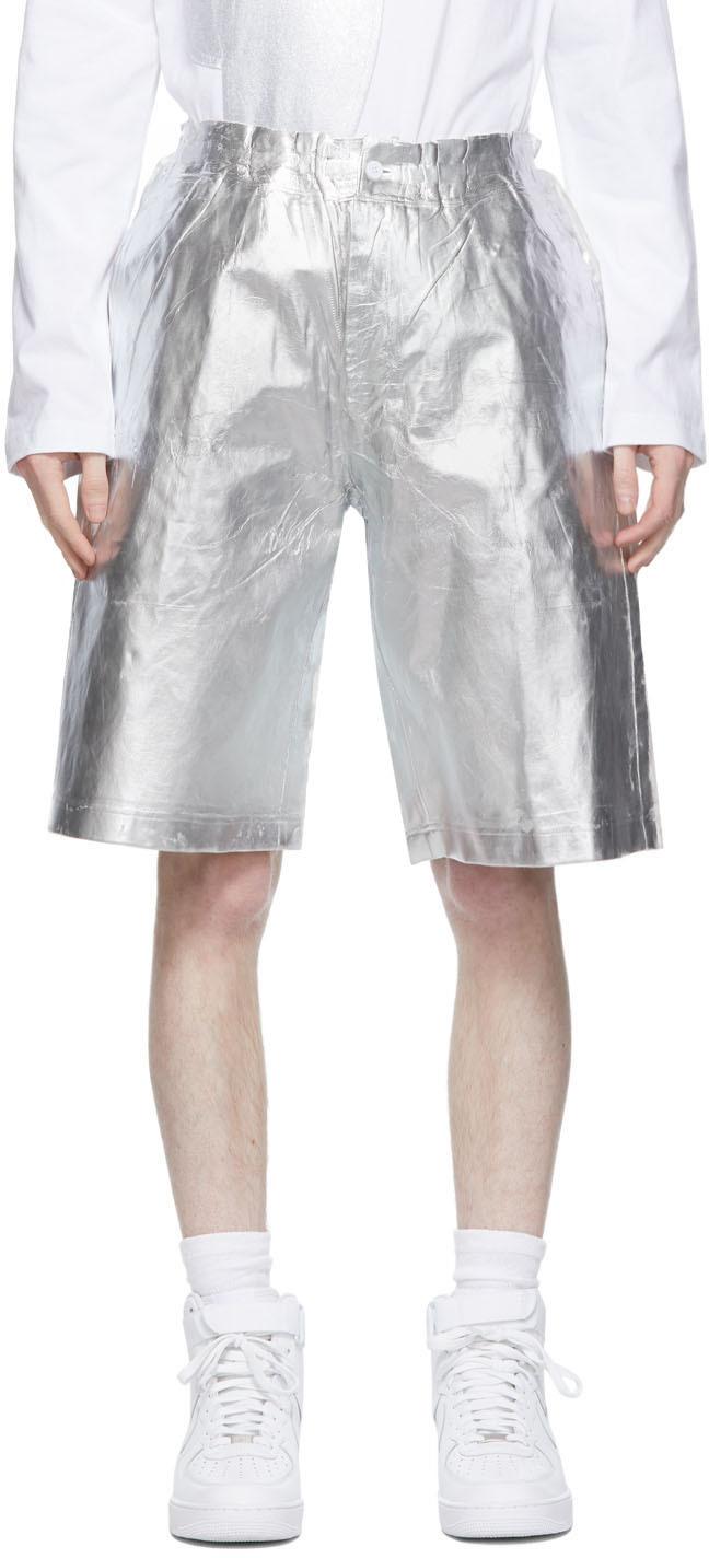 White & Silver Foil Shorts