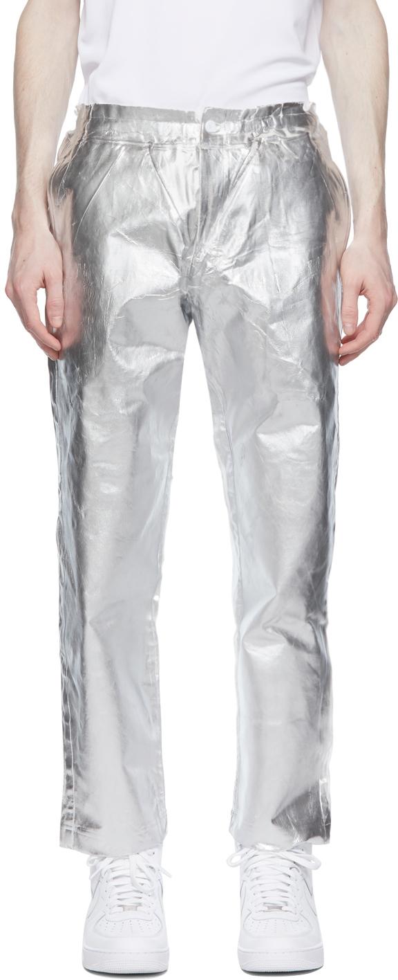 White & Silver Foil Trousers