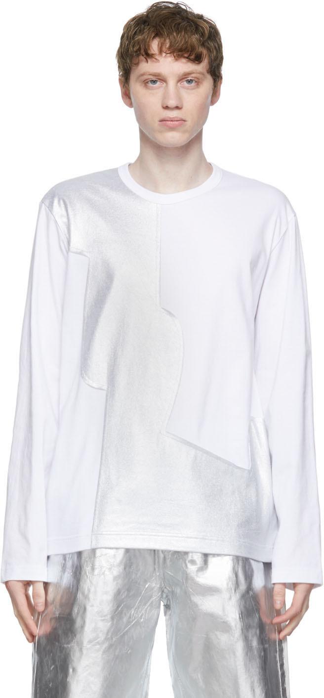 White Jersey x Laminate Long Sleeve T-Shirt
