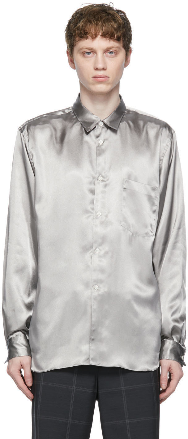 Silver Sputter Finish Satin Shirt