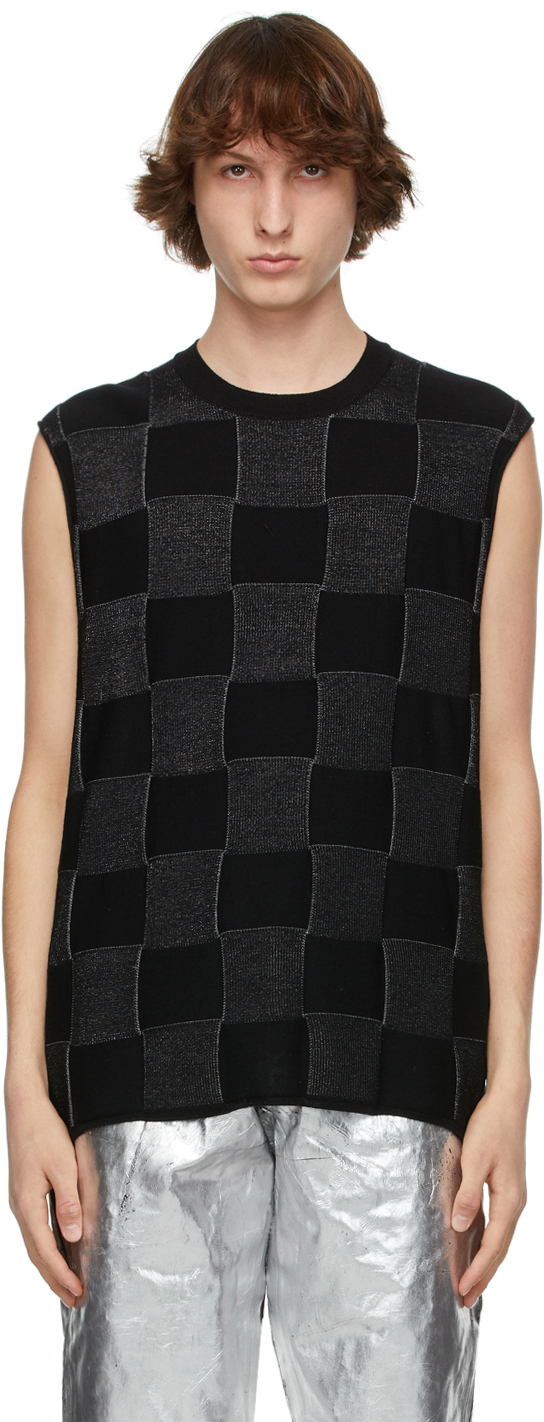 Black & Silver Check Pattern Sweater