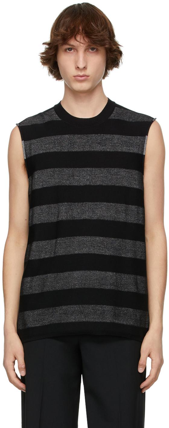 Black & Silver Horizontal Striped Sleeveless Sweater