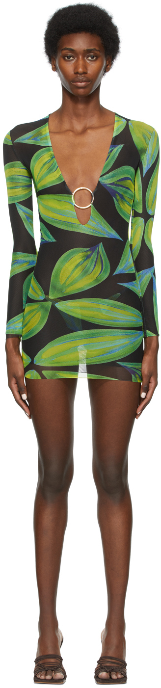 SSENSE Exclusive Blue & Green Mesh Ring Dress